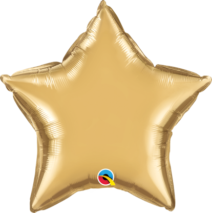 """Picture of 20"""" Chrome Gold Star  (helium-filled)"""