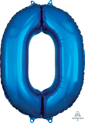 Picture of 26''Blue  Number 0 - Foil Balloon (helium-filled)