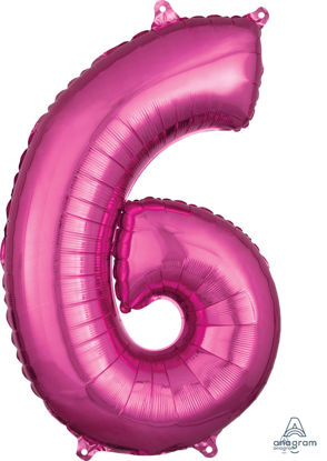 Picture of 26''Hot Pink Number 6 - Foil Balloon (helium-filled)
