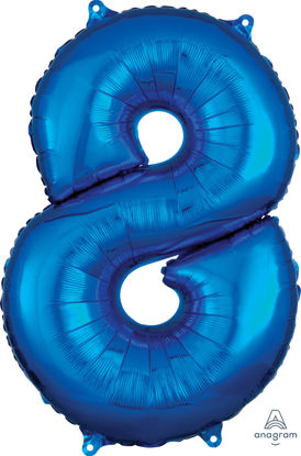 Picture of 26''Blue  Number 8 - Foil Balloon (helium-filled)