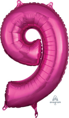 Picture of 26''Hot Pink Number 9 - Foil Balloon (helium-filled)