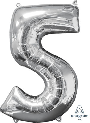 Picture of 26'' Silver Number 5 - Foil Balloon (helium-filled)