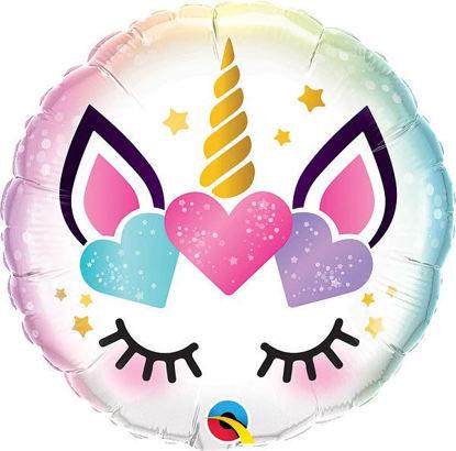 Picture of 18'' Unicorn Eyelashes Microfoil Balloon (helium-filled)