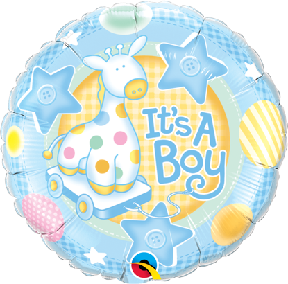 """Picture of 18"""" It's A Boy Soft Giraffe Foil Balloon  (helium-filled)"""