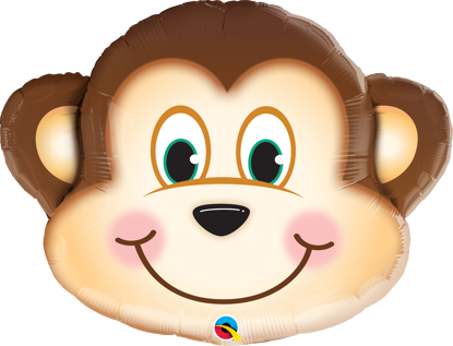 """Picture of 35"""" Mischievous Monkey Foil Balloon  (helium-filled)"""