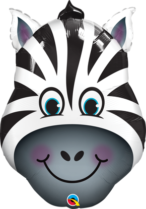 """Picture of 32"""" Zany Zebra Foil Balloon  (helium-filled)"""