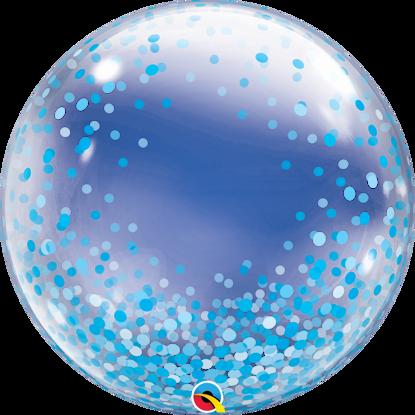 "Picture of 24"" Deco Bubble - Blue Confetti Dots  (helium-filled)"