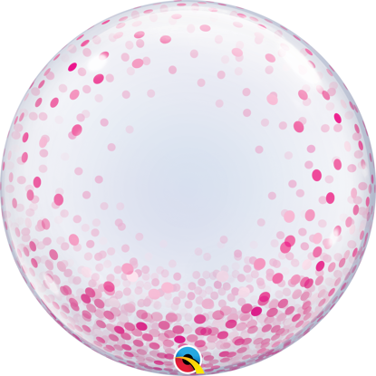 """Picture of 24"""" Deco Bubble - Pink Confetti Dots  (helium-filled)"""