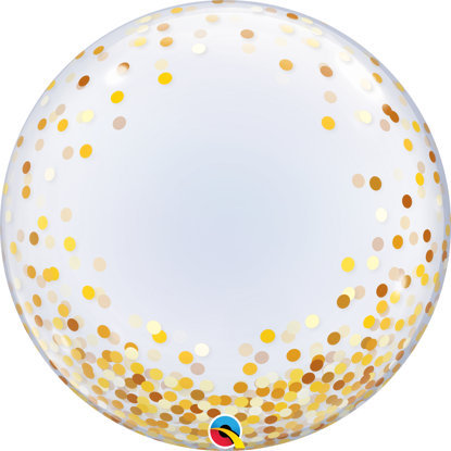 "Picture of 24"" Deco Bubble - Gold Confetti Dots  (helium-filled)"