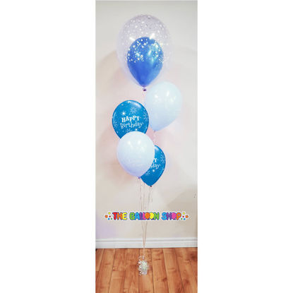 Picture of 11'' Birthday Sparkle Blue Balloon Bouquet  with Clear Topper