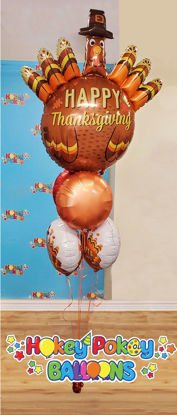 "Picture of 38"" Thanksgiving Pilgrim Turkey Balloon Foil Bouquet  (5 pc)"