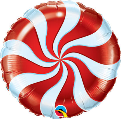 """Picture of 18"""" Round Red Candy Swirl Foil Balloon (helium-filled)"""