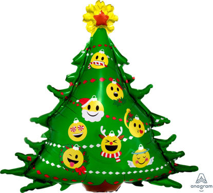 """Picture of 34""""  Emoticon Christmas Tree Foil Balloon (helium-filled)"""