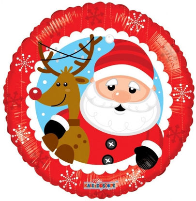 """Picture of 18"""" Santa & Reindeer Foil Balloon  (helium-filled)"""