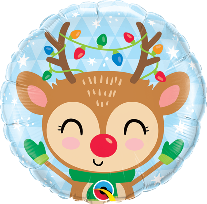 """Picture of 18"""" Reindeer & Colored Lights  Foil Balloon (helium-filled)"""
