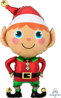 """Picture of 35"""" Happy Christmas Elf Foil Balloon (helium-filled)"""