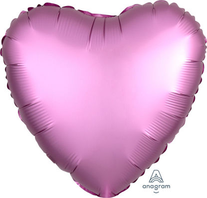 """Picture of 18"""" Satin Luxe Flamingo Heart Foil Balloon (helium-filled)"""