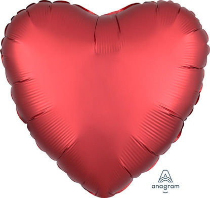 """Picture of 18"""" Satin Luxe Sangria Heart Foil Balloon (helium-filled)"""