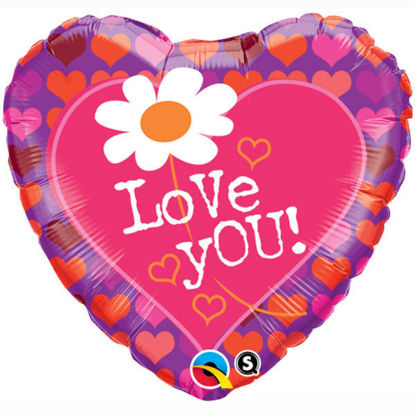 """Picture of 18"""" Love You! Daisy Heart Foil Balloon  (helium-filled)"""