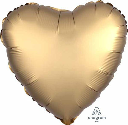 """Picture of 18"""" Satin Luxe Gold Heart Foil Balloon (helium-filled)"""