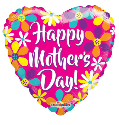 """Picture of 18"""" Happy Mother's Day Pink Heart With Flowers - Foil Balloon  (helium-filled)"""