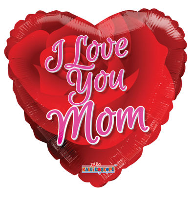 """Picture of 18"""" I Love You Mom Rose - Foil Balloon  (helium-filled)"""