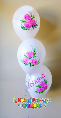 Picture of Hand painted Roses Personalized Birthday Balloon Bouquet of 3