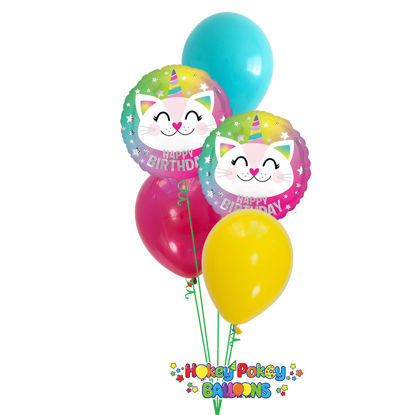 Picture of Birthday Caticorn Balloon Bouquet of 5
