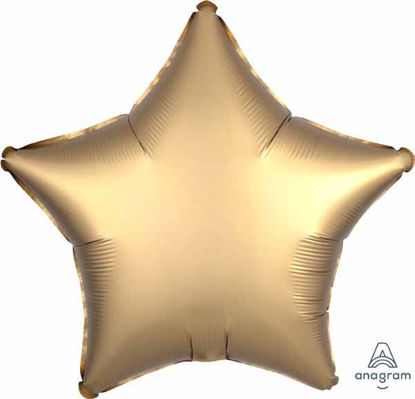 """Picture of 19"""" Satin Luxe Gold Star Foil Balloon (helium-filled)"""