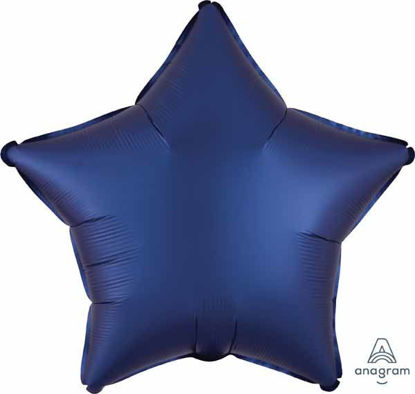 """Picture of 19"""" Satin Luxe Navy Blue Star Foil Balloon (helium-filled)"""