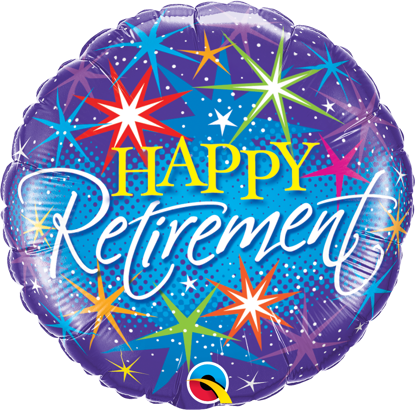 """Picture of 18"""" Retirement Colorful Bursts Foil Balloon  (helium-filled)"""