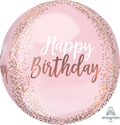 Picture of Blush Birthday Orbz Foil Balloon (helium-filled)