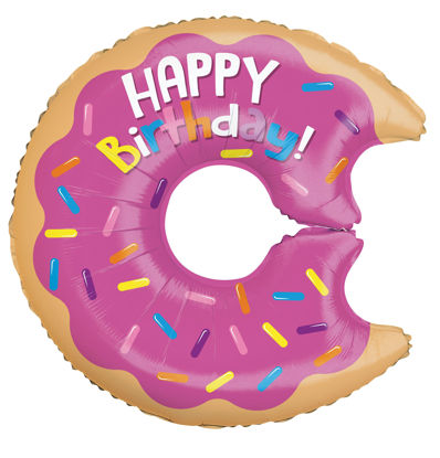 """Picture of 28"""" Birthday Donut - Foil Balloon  (helium-filled)"""