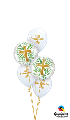 Picture of First Communion with Gold Cross and Greenery Balloon Bouquet (5 pc)